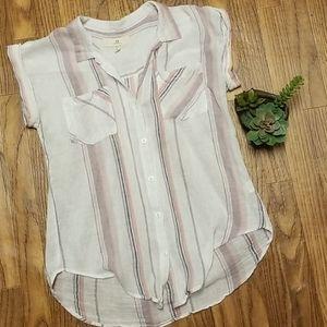 Thread & supply Margot violet sunday linen striped